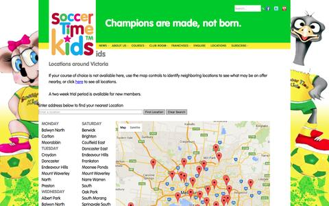 Screenshot of Locations Page soccertimekids.com.au - Soccer Time Kids - Locations - captured March 8, 2016