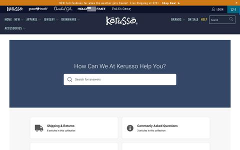 Screenshot of FAQ Page kerusso.com - Kerusso Help Center - Kerusso.com - captured Sept. 8, 2019