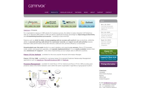 Screenshot of Products Page camrivox.com - Products - Camrivox - CTI - CRM & Telephony Integration for SalesForce, Netsuite and Microsoft Dynamics CRM - captured July 19, 2014