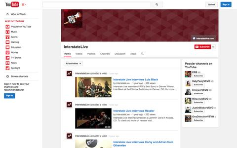 Screenshot of YouTube Page youtube.com - InterstateLive  - YouTube - captured Oct. 25, 2014