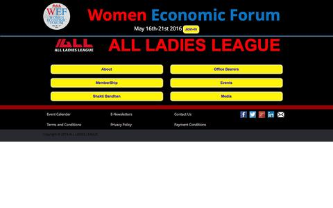 Screenshot of Home Page aall.in - International Women Chamber - ALL LADIES LEAGUE (ALL) - captured Feb. 5, 2016