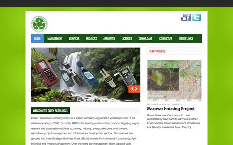 Screenshot of Services Page greenresources.co.zw - Home - captured Oct. 27, 2014