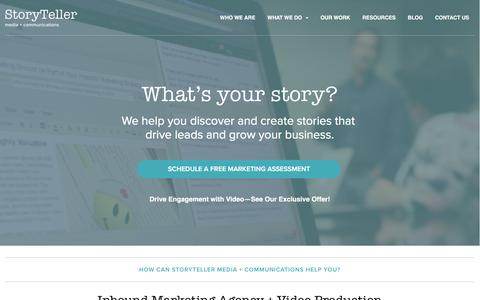 Screenshot of Home Page storytellermn.com - Inbound Marketing Agency + Video Production Company - captured Feb. 25, 2016
