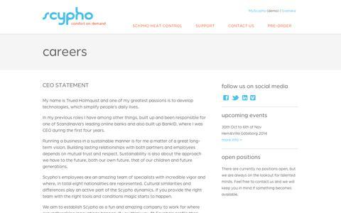 Screenshot of Jobs Page scypho.com - Scypho   comfort on demand - captured Nov. 2, 2014