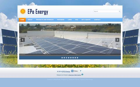 Screenshot of Home Page epoenergy.com - EPO Energy - captured Oct. 1, 2014