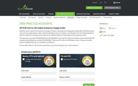 Screenshot of Trial Page questrade.com - Trading platforms | Free practice account | Questrade - captured April 13, 2018