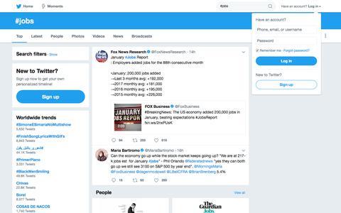 Screenshot of Jobs Page twitter.com - #jobs hashtag on Twitter - captured Feb. 3, 2018