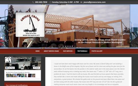 Screenshot of Testimonials Page grovescrane.com - Testimonials | Groves Crane - 360.460.7858 - captured Dec. 15, 2015