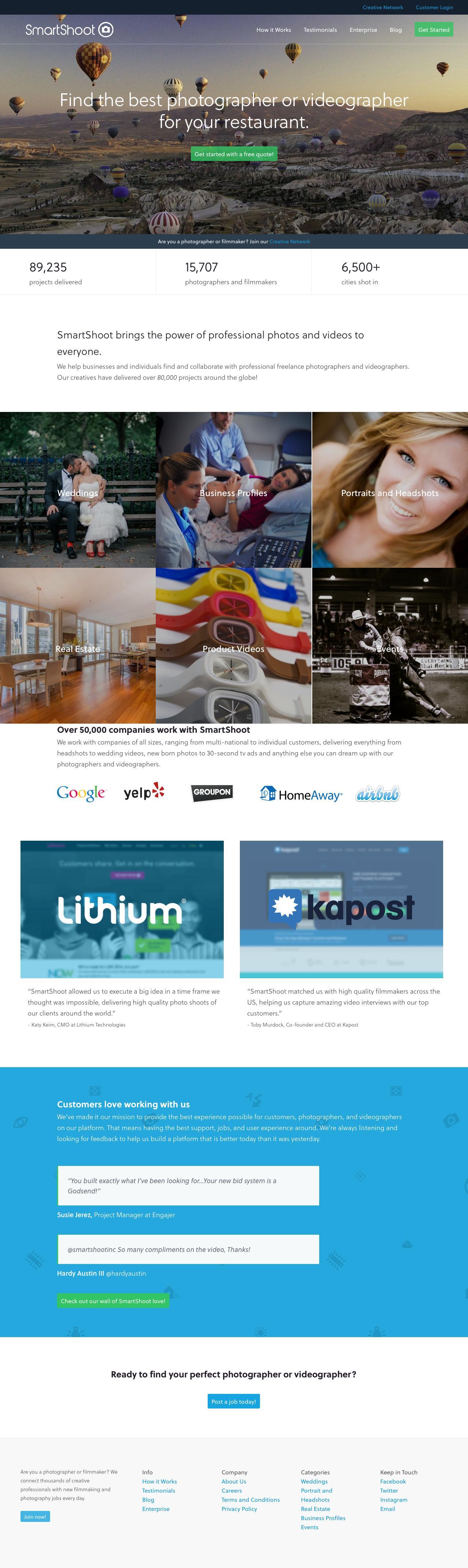 Screenshot of smartshoot.com - Online Video Production & Freelance Photographers - SmartShoot - captured Sept. 12, 2014