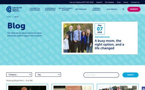 Screenshot of Blog ccalliance.org - Blog  | The Colorectal Cancer Alliance - captured Sept. 23, 2018