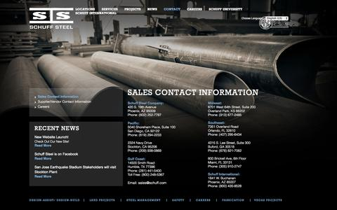 Screenshot of Contact Page schuff.com - Sales Contact Information | Schuff Steel - captured Oct. 3, 2014