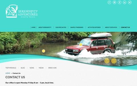 Screenshot of Contact Page serendipityadventures.com - Contact Us | Serendipity Adventures Costa Rica - captured Aug. 12, 2016