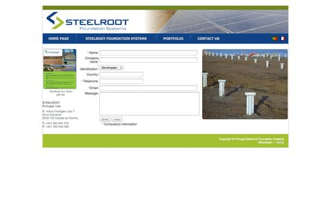 Screenshot of Contact Page steelroot.com - Steelroot Foundation Systems Applications ranging from photovoltaic panel's - captured Oct. 3, 2014