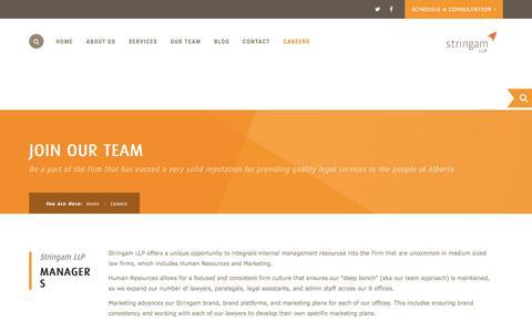 Screenshot of Jobs Page stringam.ca - Careers - Stringam LLP. - captured Nov. 9, 2017