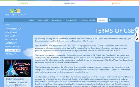 Screenshot of Terms Page wpb.org - WPB | City of West Palm Beach Contact Us - captured Nov. 6, 2016