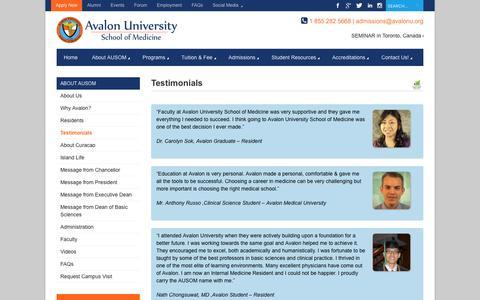 Screenshot of Testimonials Page avalonu.org - Testimonials Speak About That Medical School Ranking -Avalon University - captured Nov. 21, 2016