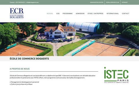 Screenshot of Home Page ecbogaerts.com - Ecole de commerce Bogaerts / Bruxelles - captured Oct. 22, 2016