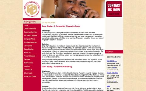 Screenshot of Case Studies Page shiprightsolutions.com - third party logistics, 3PL, order fulfillment, customer service, payment processing, warehousing - Ship-Right Solutions - captured Oct. 7, 2014