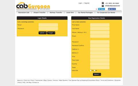 Screenshot of Login Page cabgurgaon.com - Login, sign up, register account for car rental services - captured Sept. 26, 2018