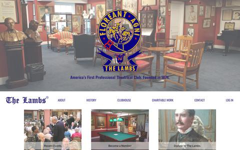 Screenshot of Home Page the-lambs.org - The Lambs Club, established 1874 - captured Nov. 9, 2017