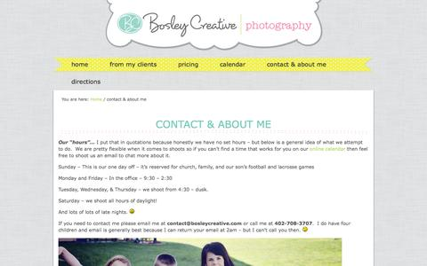 Screenshot of About Page bosleycreative.com - contact & about me - captured Sept. 30, 2014