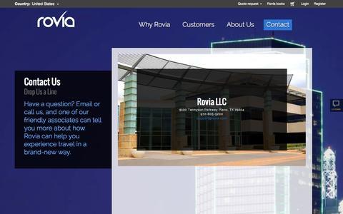 Screenshot of Contact Page rovia.com - ContactUs - captured Sept. 24, 2014
