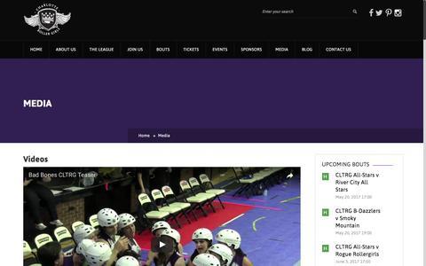 Screenshot of Press Page charlotterollergirls.com - Media – Charlotte Roller Girls - captured May 16, 2017