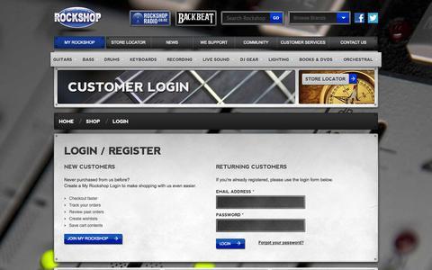 Screenshot of Login Page rockshop.co.nz - Customer Login | NZ Rockshop - captured Sept. 24, 2014