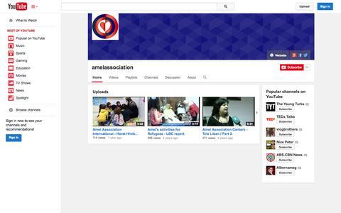 Screenshot of YouTube Page youtube.com - amelassociation  - YouTube - captured Oct. 23, 2014