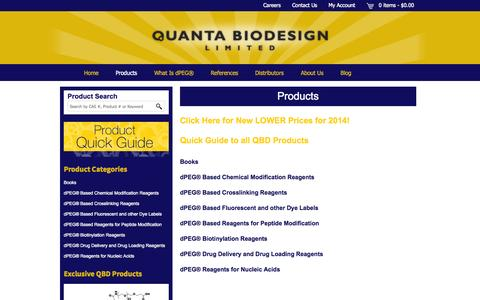 Screenshot of Products Page quantabiodesign.com - Products Archive - Quanta BioDesign - captured Oct. 3, 2014