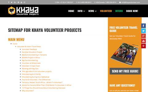 Screenshot of Site Map Page khayavolunteer.com - Sitemap for Khaya Volunteer Projects - captured Oct. 17, 2017