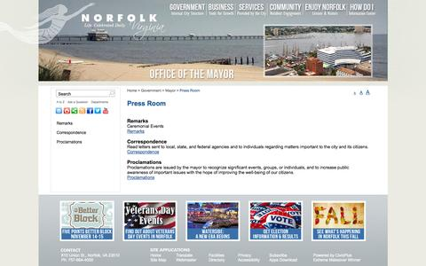Screenshot of Press Page norfolk.gov - City of Norfolk, Virginia - Official Website - Press Room - captured Nov. 4, 2014