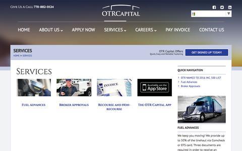 Screenshot of Services Page otrcapital.com - Services - OTR Capital - captured Dec. 18, 2016