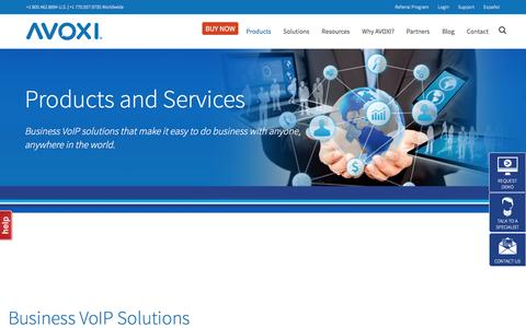 Screenshot of Products Page avoxi.com - Products & Features | AVOXI Business VoIP Solutions - captured May 29, 2017