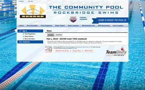 Screenshot of Press Page teamunify.com - Rockbridge Storm Swim Team : News - captured Feb. 24, 2018