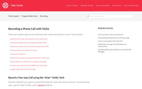 Screenshot of Support Page twilio.com - Recording a Phone Call with Twilio – Twilio Support - captured June 13, 2019