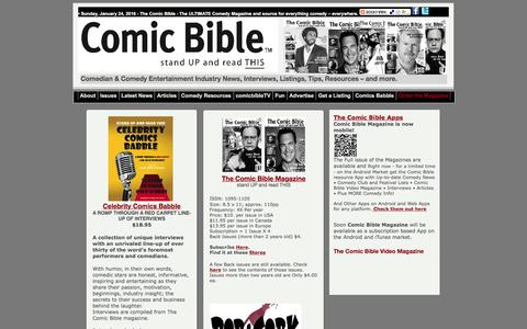 Screenshot of Products Page thecomicbible.com - Comic Bible Magazine Ultimate Comedy Source - captured Jan. 24, 2016