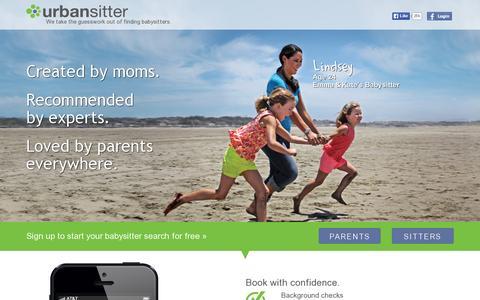 Screenshot of Home Page urbansitter.com - Babysitters, Nannies, and Child Care – UrbanSitter Babysitting - captured July 12, 2014