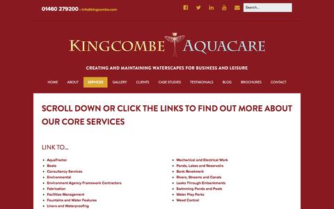 Screenshot of Services Page kingcombe.com - Kingcombe Aquacare - Water Maintenance Services - captured Feb. 12, 2016