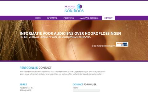 Screenshot of Contact Page hearsolutions.nl - Contact - Hearsolutions - captured Jan. 28, 2016