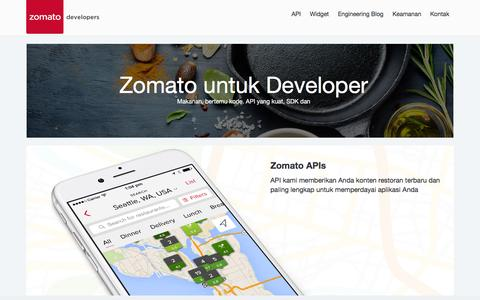 Screenshot of Developers Page zomato.com - Zomato Developers - captured July 14, 2016