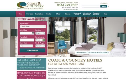 Screenshot of Home Page coastandcountryhotels.com - Hotel Breaks UK | Short Hotel Breaks from Coast & Country - captured Sept. 23, 2015