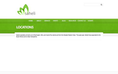 Screenshot of Locations Page saheliboston.org - Locations  |  Saheli | empowering South Asian women and their families to lead safe and healthy lives - captured Oct. 4, 2014
