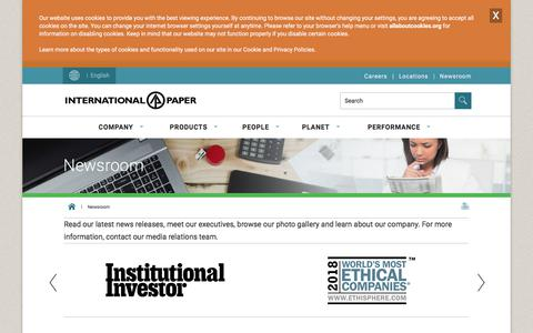 Screenshot of Press Page internationalpaper.com - Newsroom | International Paper - captured Nov. 19, 2019