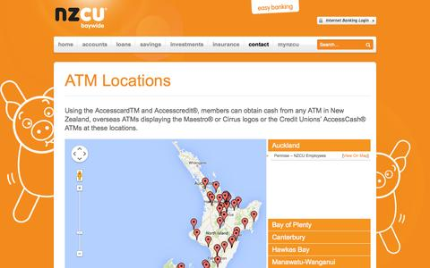 Screenshot of Locations Page nzcubaywide.co.nz - ATM Location - NZCU Baywide | Personal Loan | Mortgage Brokers | Loans - captured Oct. 27, 2014