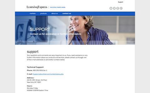 Screenshot of Support Page learningexpresshub.com - Contact Us | LearningExpress - captured Nov. 5, 2016