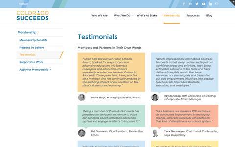 Screenshot of Testimonials Page coloradosucceeds.org - Testimonials - Colorado Succeeds - captured July 14, 2016