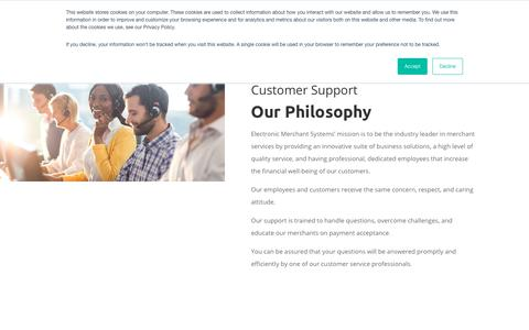 Screenshot of Support Page emscorporate.com - Customer Support & Service | Electronic Merchant Systems - captured Feb. 14, 2019