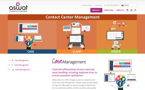 Screenshot of Products Page aswat-telecom.com - Contact Center Management - Contact Center Software - captured Oct. 4, 2018