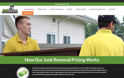 Screenshot of Pricing Page junkdrs.com - Full Service Junk Removal Pricing with the Junk Doctors | Junk Doctors - captured March 18, 2019